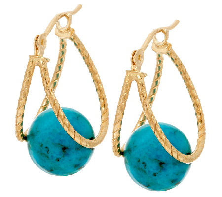 14K Gold Textured Turquoise Captured Hoop Earrings