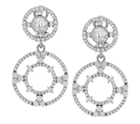"""As Is"" Judith Ripka Sterling 7.6 ct Diamonique Drop Earrings"