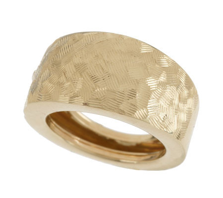"""As Is"" EternaGold Bold Criss Cross Etched Band Ring 14K Gold"