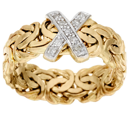 """As Is"" 14K Gold Diamond Accent Byzantine Band Ring"