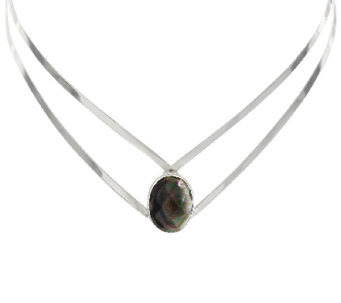 """As Is"" Dominique Dinouart Black Mother-of-Pearl Sterling Collar - J327115"
