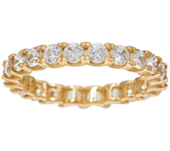 Diamonique Round Eternity Band Ring, 14K Gold - J328415