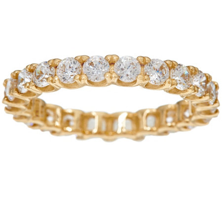 Diamonique Round Eternity Band Ring, 14K Gold