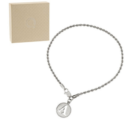 """As Is"" 14K White Gold 8"" Initial Charm Woven Rope Bracelet"