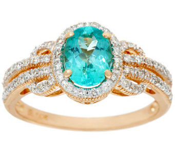 Oval Pariaba Toumaline & Diamond Ring 14K Gold 1.00 ct - J328615
