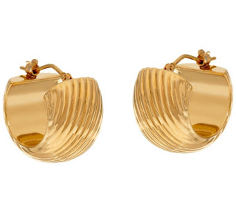 """As Is"" Oro Nuovo Ribbed Huggie Hoop Earrings, 14K - J329115"