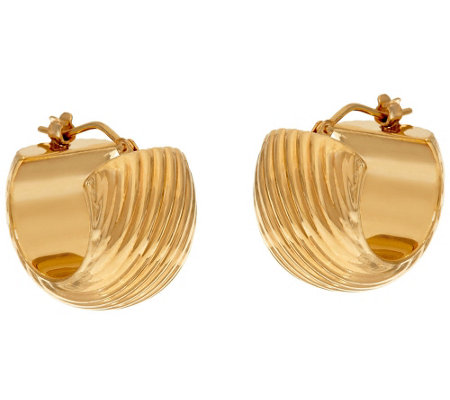 """As Is"" Oro Nuovo Ribbed Huggie Hoop Earrings, 14K"