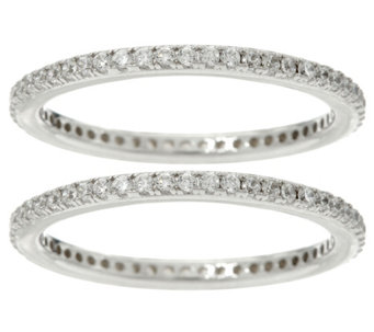 Diamonique Set of 2 Pave' Eternity Band Rings, Sterling - J329615