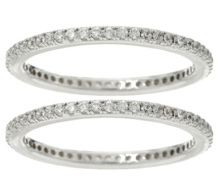 Diamonique Set of 2 Pave' Eternity Band Rings, Sterling