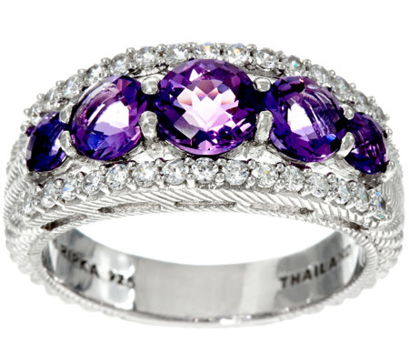 Judith Ripka Sterling Gemstone Tapered Ring