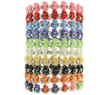 """As Is"" Trrtlz Set of 10 Animal Stretch Bracelets - J329915"