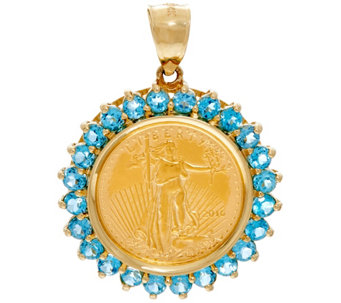 14K/22K Gold Gemstone Liberty Coin Pendant, 2.00 cttw - J330215