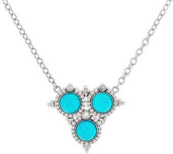 Judith Ripka Sterling Turquoise & Diamonique Necklace - J330515