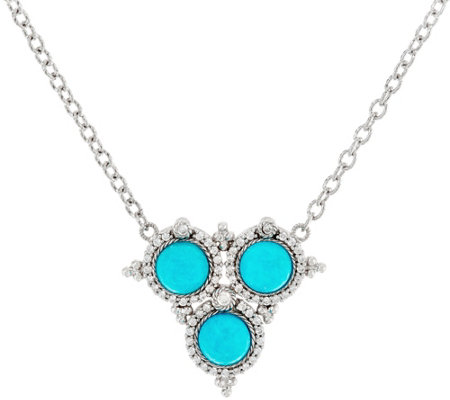 Judith Ripka Sterling Turquoise & Diamonique Necklace