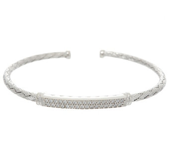 Diamonique Woven Cuff Bracelet, Sterling - J330615