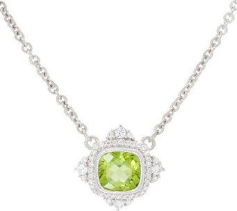 Judith Ripka Sterling Silver 1.70 cttw Peridot Necklace - J331115