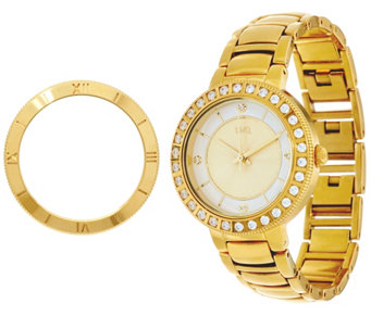 Diamonique Bracelet Strap Watch with Two Bezels - J331215