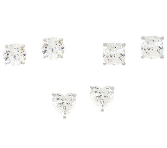 Diamonique Set of Three Stud Earrings, Sterling, Boxed - J332115