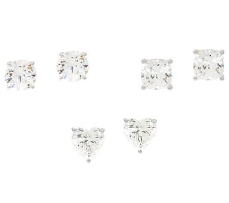 Diamonique Set of Three Stud Earrings, Sterling, Boxed