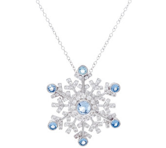 Hallmark Sterling Snowflake Pin Pendant with Chain - J333415