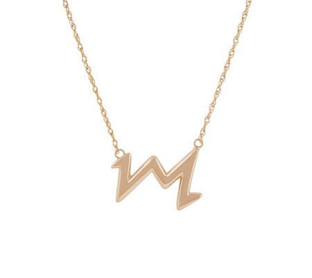 "14K Gold 18"" Polished Heartbeat Design Necklace"