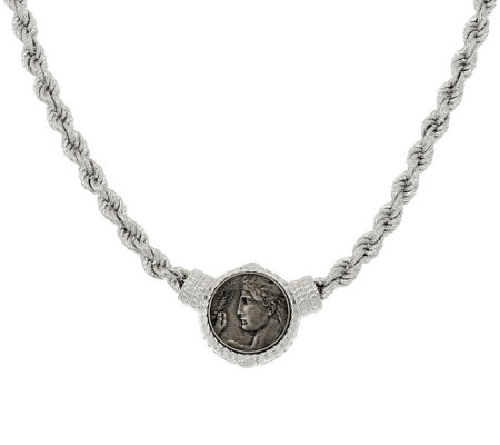 """As Is"" Judith Ripka Sterling 18"" Verona Coin Station Rope Necklace"