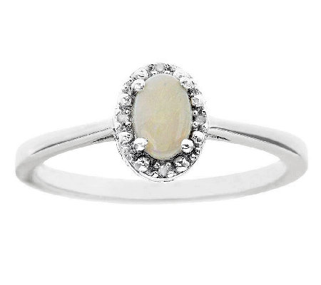 Sterling Oval Prong-Set Gemstone Ring with Diam ond Accents
