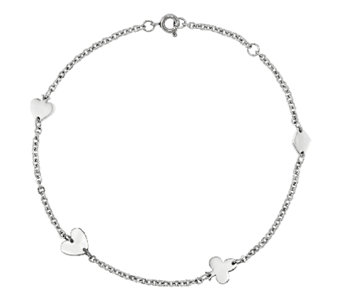 Stainless Steel Polished Poker Suits Station Ankle Bracelet - J336315