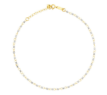 "10"" Two-Tone Diamond-Cut Beaded Ankle Bracelet,14K Gold"