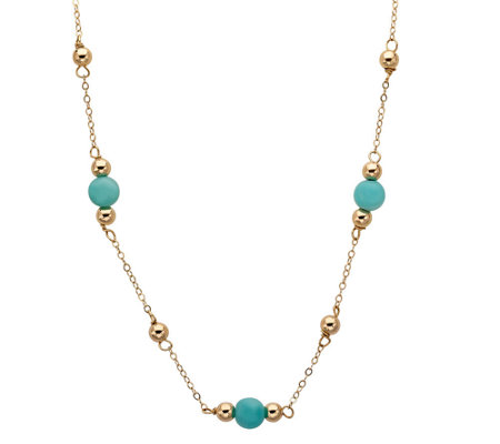 "EternaGold 18"" Polished Bead & Gemstone StationNecklace, 14K"