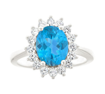 Premier 2.50cttw Oval Blue Topaz & 1/2cttw Diamond Ring, 14K - J337915