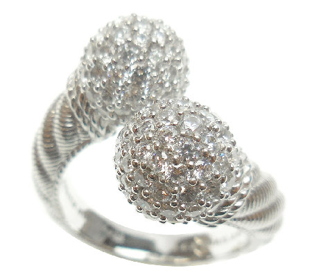 Judith Ripka Sterling 2.70cttw Pave Diamonique Bypass Ring