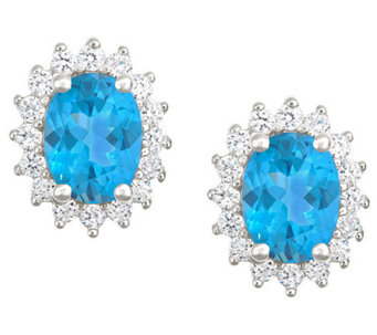 Premier 2.50cttw Oval Blue Topaz & Diamond Earrings, 14K - J338215