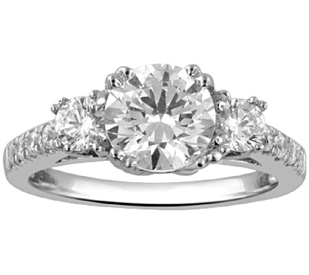 3 stone diamond bridal ring 14k 150cttw by affinity - Qvc Wedding Rings