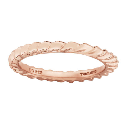 Simply Stacks Sterling & 18K Rose PlatedTwisted Ring