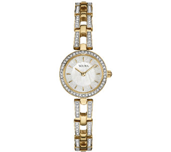 Bulova Women's Goldtone/Silvertone Crystal Bracelet Watch - J339015