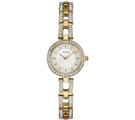 Bulova Women's Goldtone/Silvertone Crystal Bracelet Watch