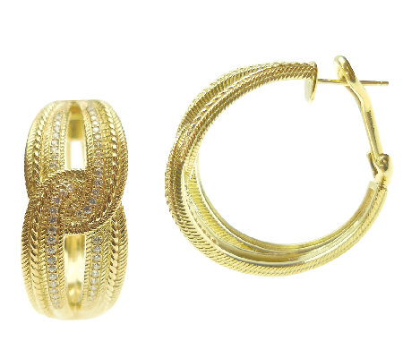 Judith Ripka 14K Clad Diamonique Hoop Earrings