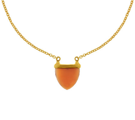 "Sterling & 14K-Plated Orange Agate Pendant w/ 18"" Chain"