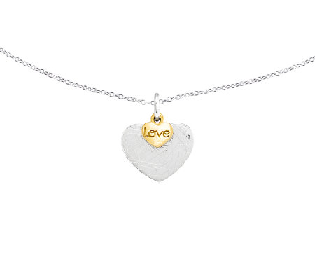 "Sterling & 14K Gold-Plated Textured Love Pendant w/ 18"" Chain"
