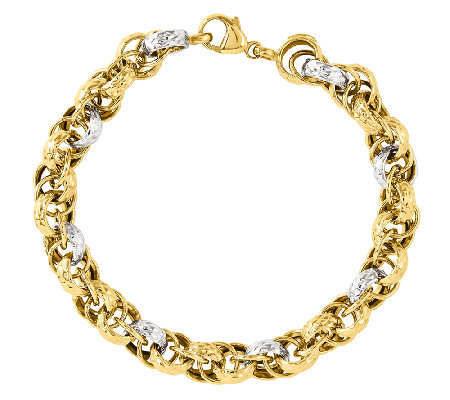 "Two-tone Textured and Polished Fancy Link 8"" Bracelet, 14K"