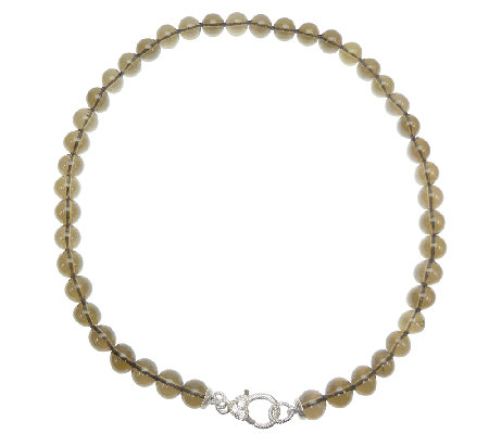 "Judith Ripka Sterling and Smoky Quartz Bead 20""Necklace"