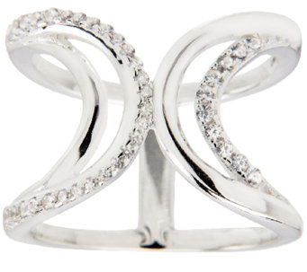 UltraFine Silver Crystal & Polished Open Band Ring - J339915