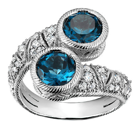 Judith Ripka Sterling  Blue Topaz & Diamonique Bypass Ring