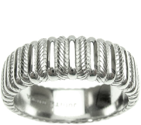 Judith Ripka Sterling Textured and Polished Wide Band Ring