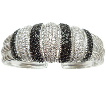 Judith Ripka Sterling Silver Black Spinel & Diamonique Cuff - J341215