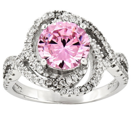 Sterling Pink and White Crystal Ring