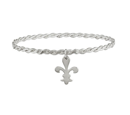 Sterling Silver Fleur-De-Lis Bangle by Silver Style