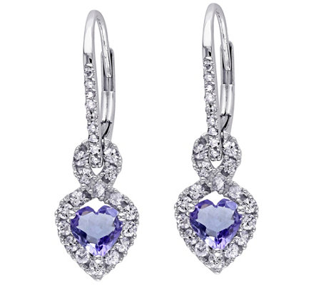 1.25 cttw Gemstone & Diamond Accent Earrings, 14K White Gold