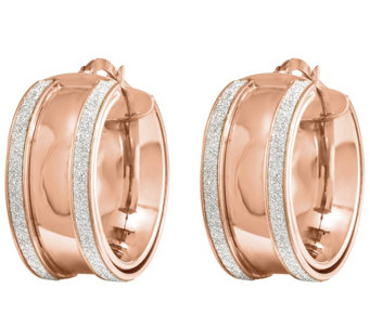 14K Gold Polished Glimmer-Infused Hinged Hoop Earrings - J342515